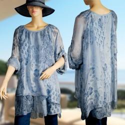 Robe Tunique - Soie bleue, TU