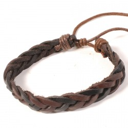 Bracelet Homme - Shambala Cuir Tressé marron, TU