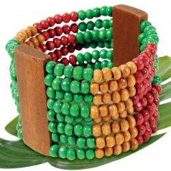 Bracelet - Bois Multirangs multicolore, H. 4,5 cm