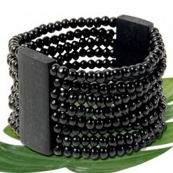 Bracelet - Bois Multirangs noir, H. 4,5 cm