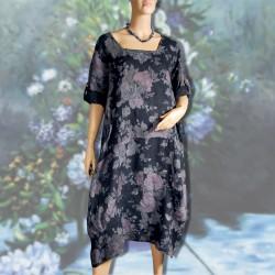 Robe - Renoir : Fleurs bleues marines ML, TU