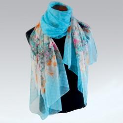 Etole - Fleurs turquoise, L. 180 cm