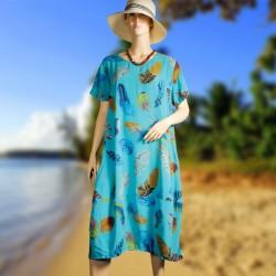 Robe - Plumes turquoise, TU