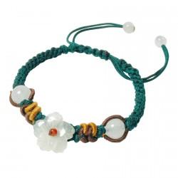 Bracelet tibétain fleur et perles de jade