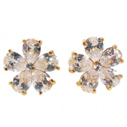 Boucles D'Oreilles Fleurs Diamants