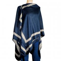 Poncho Réversible - Bleu Et Gris