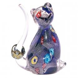 Baguier Chat Murano en verre souflé bleu - E