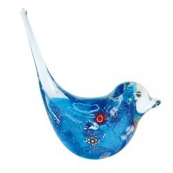 Oiseau Verre Soufflé Baguier Bleu