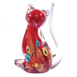 Baguier Verre Soufflé - Chat Murano rouge, H. 11 cm
