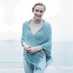 Châle laine - Mer d'Aran bleu, TU