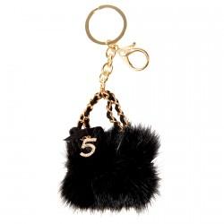 Porte clé - Stylé Fourrure noire, H. 13 cm