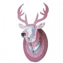 Trophée mural carton, L. 33 cm - Cerf rose pailleté