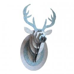 Trophée mural carton, L. 33 cm - Cerf imprimé fleurs rose bois bleus soutenus