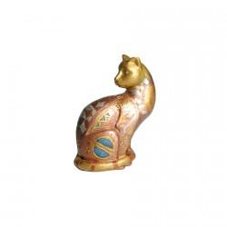 Statuette résine - Chats Klimt : Assis, H. 10 cm environ