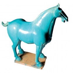 Sculpture terre cuite - Cheval Han bleu, H. 54 cm