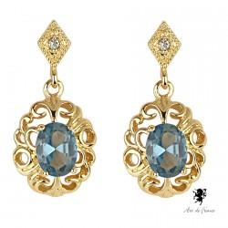 Boucles d'oreilles pendants Swarovski Elements - Sissi bleue