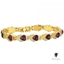 Bracelet magnétique - Cœurs Améthyste