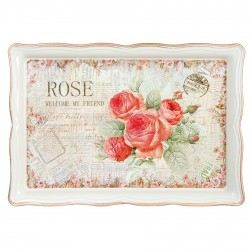 Plateau - Vintage : 3 Roses, Welcome my Friend, L. 24 cm