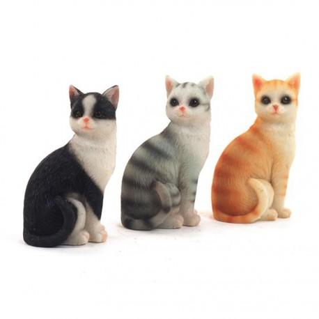 Figurine résine , Les 3 Chats, H. 6,5 cm (le set