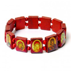 Bracelet bois - Icônes rouge