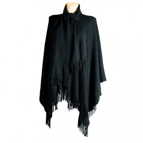 Poncho   Echarpe - Uni noir, L. 160 cm - Mode Poncho b951615658b