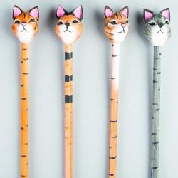 Crayons à papier - Chat, L. 21 cm (lot de 2)
