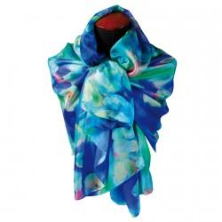 Foulard soie bleu 200 cm - Monet : Nymphéas