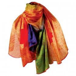 Etole 100 % soie - Cachemire multicolore, L. 200 cm