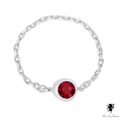 Bague Chaine Swarovski Elements - rouge