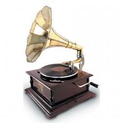 Gramophone laiton, H. 65 cm