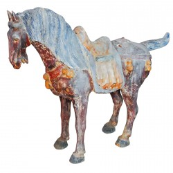 Scultpture bois - Grand cheval Tang., H. 95 cm