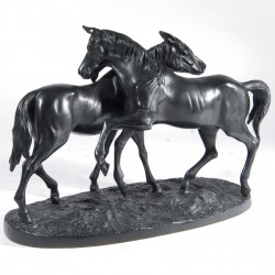 Sculpture bronze - Couple de Chevaux, L. 41 cm