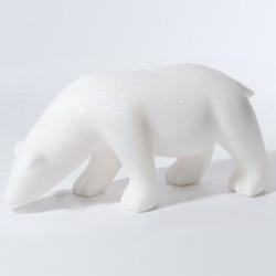 Sculpture marbre - Pompon : Ours blanc, L. 34 cm