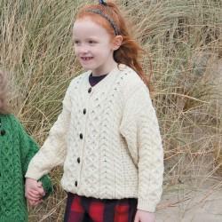 Veste laine - Irlandaise Enfant écru, Taille 9 à 10 ans