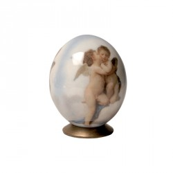 Oeuf de collection - Oeuf d'autruche - Francesco Hayes : Anges, H. 15 cm