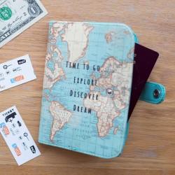 Pochette Passeport - Carte du Monde, L. 14 cm