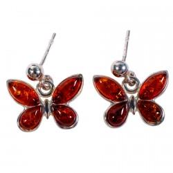 Boucles d'oreilles Clou argent- Papillon Ambre, L. 1,2 cm