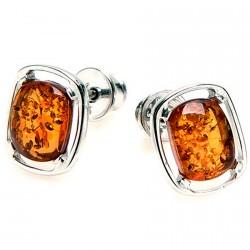 Boucles d'oreilles Clou argent - Ambre Cognac