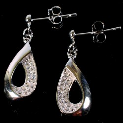 Boucles d'oreilles argent - Goutte, H. 2 cm