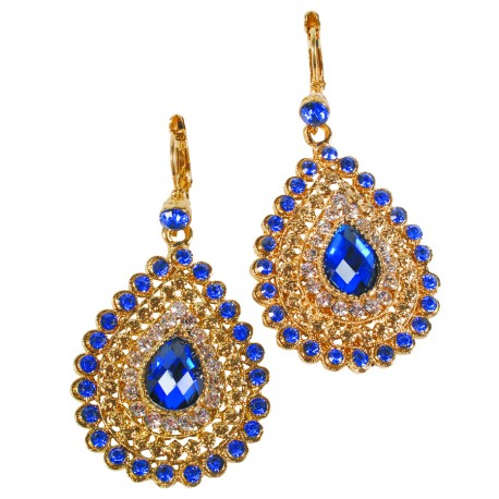 Boucles d'oreilles Pendant - Palmyre bleues, H. 6 cm