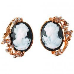 Boucles d'oreilles - Camées Baroco noires, H. 3,5 cm