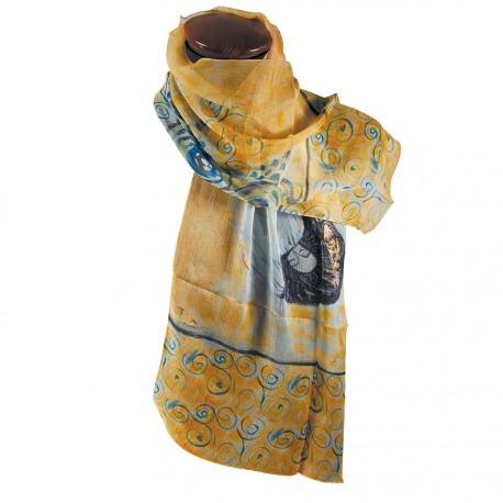 eaa43ad11806 Etole mousseline 100% soie 130 cm - Gustav Klimt - Femme sur un Nuage beige