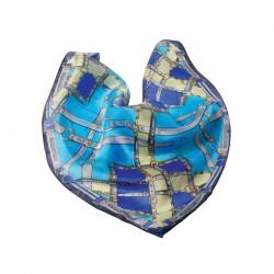 Foulard soie - Equitation bleue, L. 100 cm