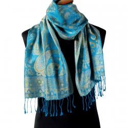 Echarpe soie - Taj Mahal bleu, L. 170 cm