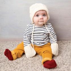 Ensemble Bonnet et Moufles laine - Pour Tout-Petit blanc, TU