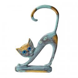 Statuette bronze bleu - Chat Dos Rond H. 10 cm