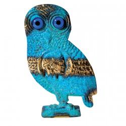 Sculpture bronze - Chouette bleue, H. 16 cm