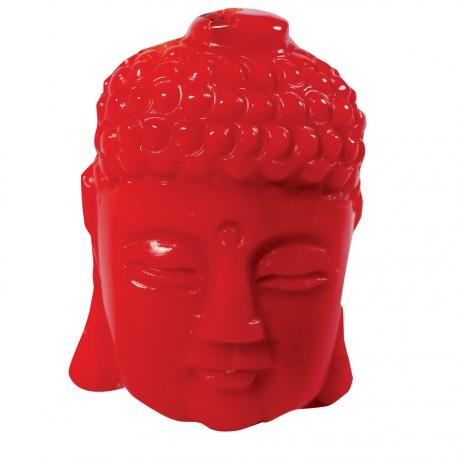 Bibelot corail sculpté - Tête de Bouddha, H. 3,5 cm