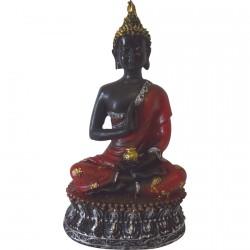 Sculpture résine - Bouddha Thai : Kesa rouge, H. 16 cm