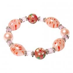 Bracelet pâte de verre - Millefiori magnétique rose